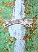 Falls Drawings - Multnomah Falls by Marcia Weller-Wenbert