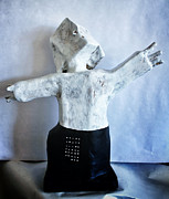 Primitive Art Sculpture Prints - MUM no.15 The Thinker Print by Mark M  Mellon