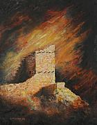 National Park Paintings - Mummy Cave Ruins 2 by Jerry McElroy