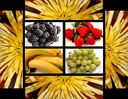 Salad Digital Art Prints - Mums Fruit Collage Print by Barbara Griffin
