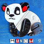 Panda Mixed Media - Munch the Panda License Plate Art by Design Turnpike