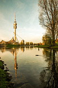 Softengineer Framed Prints - Munich - Olympiapark - Vintage Framed Print by Hannes Cmarits