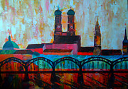Original Artwork Paintings - Munich Central Station with Hackerbridge and Church of our Lady by M Bleichner