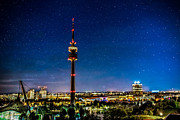 Dekorativ Framed Prints - Munich City Nights - Olympiapark Framed Print by Hannes Cmarits