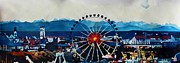 Munich Originals - Munich Oktoberfest Panorama with Alps and Giant Wheel by M Bleichner
