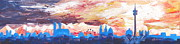 Munich Originals - Munich Skyline at Dusk with Alps by M Bleichner