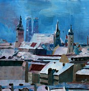 Munich Originals - Munich Skyline in Winter with Snow by M Bleichner