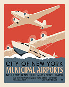 Vintage Typography Digital Art Metal Prints - Municipal Airports Metal Print by Gary Grayson