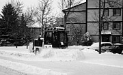 Winter Roads Photos - municipal city mini tractor clearing sidewalks and roads in Saskatoon Saskatchewan Canada by Joe Fox
