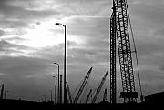 Black And White Photography Digital Art Metal Prints - Municipal Construction  Metal Print by Jamie Lynn