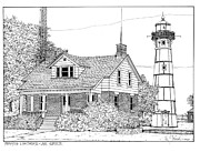 Munising Drawings - Munising Lighthouse Lake Superior by Ira Shander