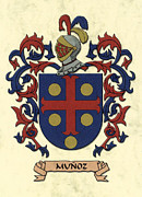 Military Families Prints - Munoz Coat of Arms Original Art Print by Arco Montufar