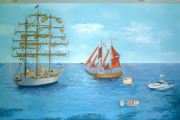Sailboats Mixed Media - Mural by Filip Mihail