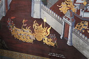 Wall Photo Acrylic Prints - Mural - Grand Palace in Bangkok Thailand - 011310 Acrylic Print by DC Photographer