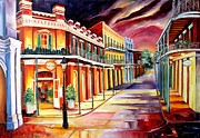 Night Lamp Paintings - Muriels in the French Quarter by Diane Millsap