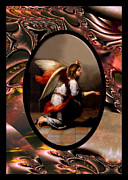 Annunciation Digital Art Framed Prints - Murillo Vintage Angel Framed Print by Robert G Kernodle
