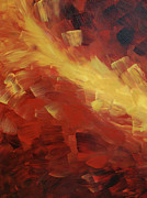 Earth Tone Painting Posters - Muse In The Fire 1 Poster by Sharon Cummings