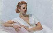 White Dress Painting Originals - Muse in White by Anna Bain