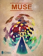 Band Pyrography - Muse poster by Farhad Tamim