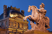 Night Lamp Prints - Musee du Louvre Print by Brian Jannsen