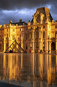 Glass Reflecting Posters - Musee du Louvre Reflections Poster by Brian Jannsen