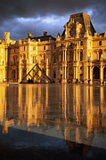 Glass Reflecting Metal Prints - Musee du Louvre Sunset Metal Print by Brian Jannsen