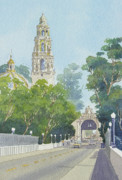 Bell Tower Paintings - Museum of Man Balboa Park by Mary Helmreich