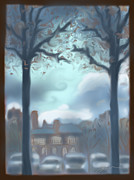 Museum Drawings Metal Prints - Museum School After The Storm Metal Print by Jean Pacheco Ravinski