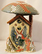 Vegetables Ceramics - Mushroom and Hummingbird House by Susan Perry