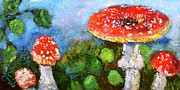Mushrooms Paintings - Mushroom Beauty Amanita Muscaria by Ginette Callaway