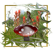 Mystical Landscape Mixed Media Posters - Mushroom Fairy Poster by Jennifer Schwab
