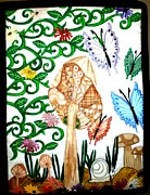 Folk Tapestries - Textiles Posters - Mushroom Hunt Poster by Linda Egland