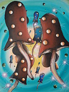 Blue Mushrooms Painting Posters - Mushroom Migration Poster by Krystyna Spink