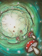 Mushroom Time Tunel Print by Krystyna Spink