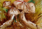 Mindfulness Paintings - Mushroom Trio by Beverley Harper Tinsley