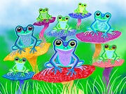 Nick Gustafson Art - Mushroom Valley Frogs by Nick Gustafson