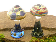 Alice In Wonderland Glass Art - Mushrooms by Daniel Wallace by Jubilant Glass And Art
