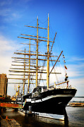 Schooner Prints - Mushulu at Penns Landing Print by Bill Cannon