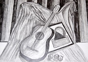 Guitar Drawings Posters - Music and Art Poster by Silvia Roberts