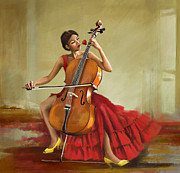 Greeting Cards Painting Originals - Music and Beauty by Corporate Art Task Force