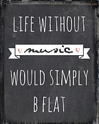 Flat Mixed Media Posters - Music and Life Poster by Brandi Fitzgerald
