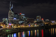 Nashville Downtown Posters - Music and Lights Poster by CJ Schmit