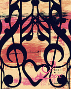 Brandi Fitzgerald Mixed Media - Music and Love by Brandi Fitzgerald
