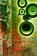 Music Map Digital Art Posters - Music background Poster by Christophe ROLLAND