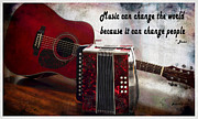 Cabin Corner Framed Prints - Music can Change the World - Guitar - Accordion Framed Print by Barbara Griffin