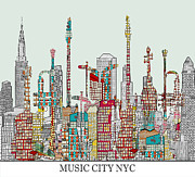 Nyc Posters Mixed Media - Music City Nyc  by Brian Buckley