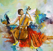 Greeting Cards Painting Originals - Music Colors and Beauty by Corporate Art Task Force