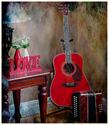 Cabin Corner Posters - Music Corner - Guitar -  Accordion Poster by Barbara Griffin
