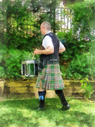 Drummers Photo Framed Prints - Music - Drummer in Pipe Band Framed Print by Susan Savad