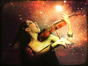Fiddle Digital Art - Music explodes in the night by Linda Lees